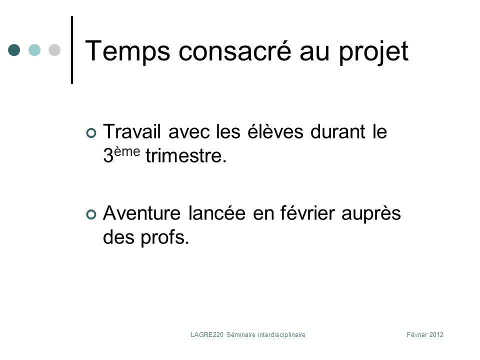 Présentation générale du projet et timing Février : lancement du projet auprès des profs (explications, motivation).