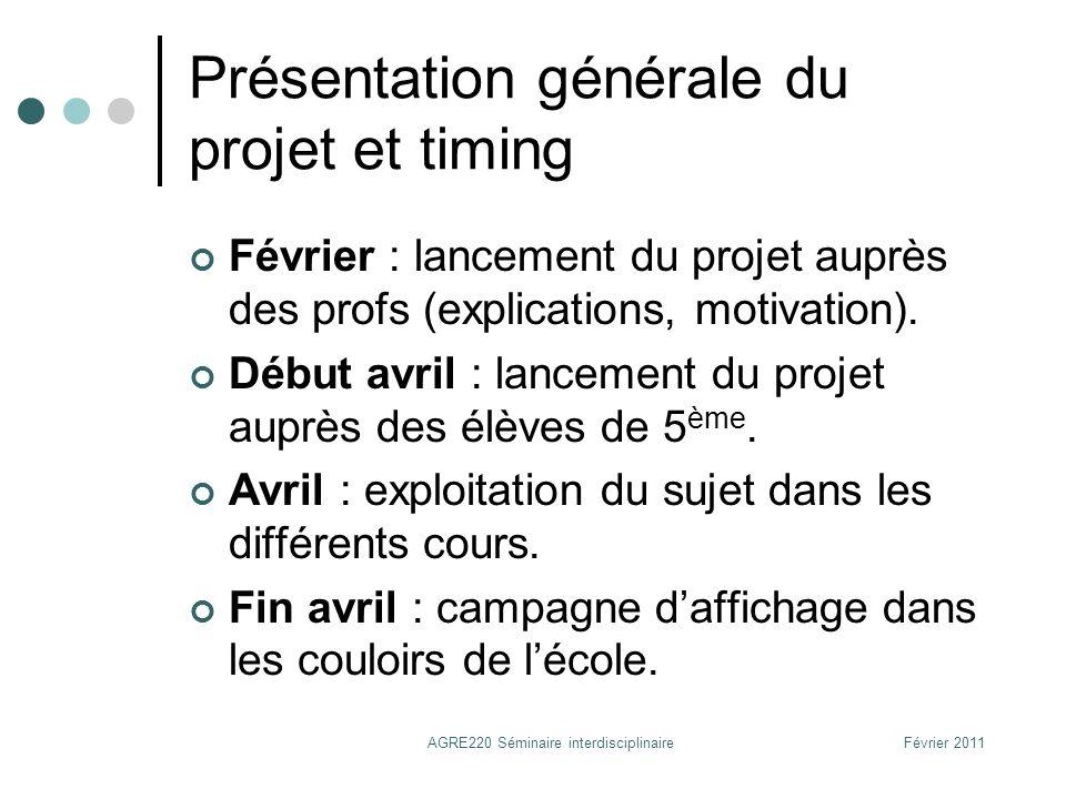 Présentation générale du projet et timing (2) Fin avril-début mai : préparation plus concrète de la présentation que les élèves feront durant la semaine de sensibilisation.