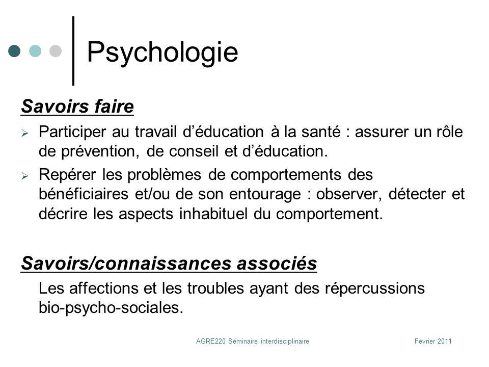 Psychologie Savoirs faire Participer au travail déducation à la santé : assurer un rôle de prévention, de conseil et déducation. Repérer les problèmes