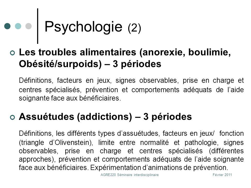 Psychologie (2) Les troubles alimentaires (anorexie, boulimie, Obésité/surpoids) – 3 périodes Définitions, facteurs en jeux, signes observables, prise