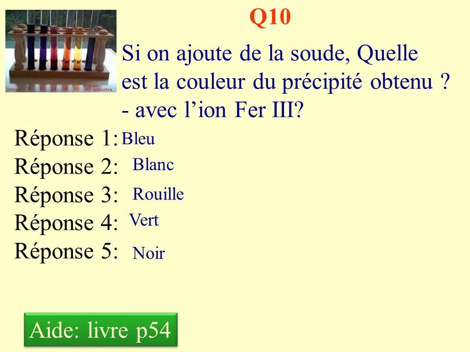 Q9 Si on ajoute de la soude, Quelle est la couleur du précipité obtenu ? - avec lion Fer II? Réponse 1: Réponse 2: Réponse 3: Réponse 4: Réponse 5: Bl