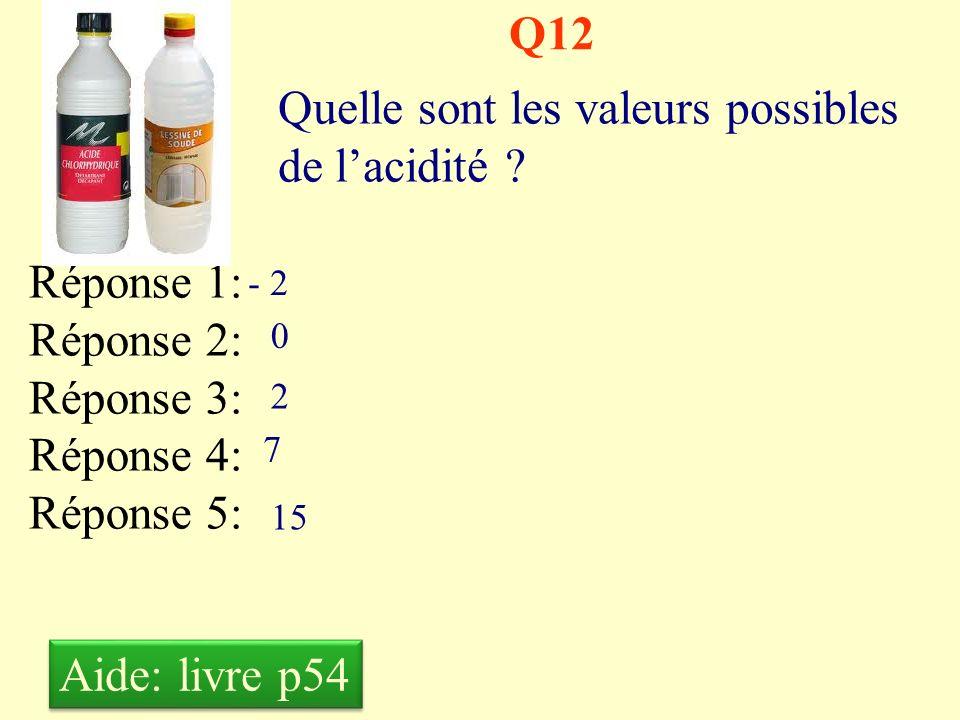 Q11 Quelle est lunité de mesure de lacidité ? Réponse 1: Réponse 2: Réponse 3: Réponse 4: Réponse 5: Lacide Le pH Le PH Le ph Le Ph Aide: livre p54