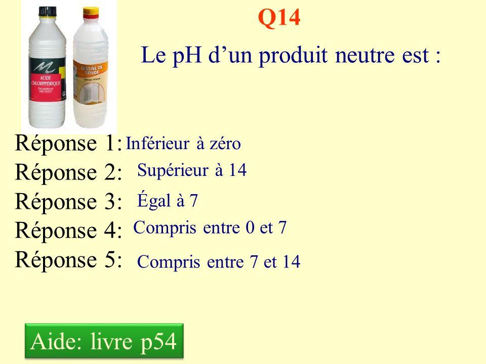 Q13 Le pH dun produit acide est : Réponse 1: Réponse 2: Réponse 3: Réponse 4: Réponse 5: Inférieur à zéro Supérieur à 14 Égal à 7 Compris entre 0 et 7