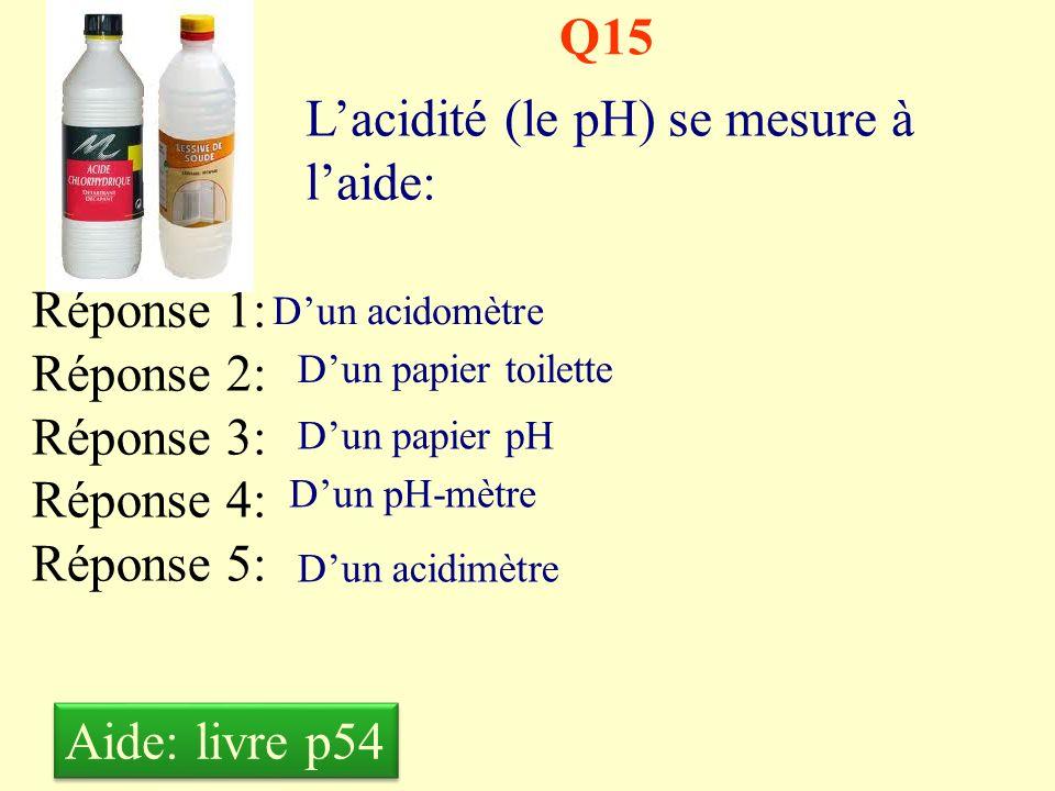 Q14 Le pH dun produit neutre est : Réponse 1: Réponse 2: Réponse 3: Réponse 4: Réponse 5: Inférieur à zéro Supérieur à 14 Égal à 7 Compris entre 0 et