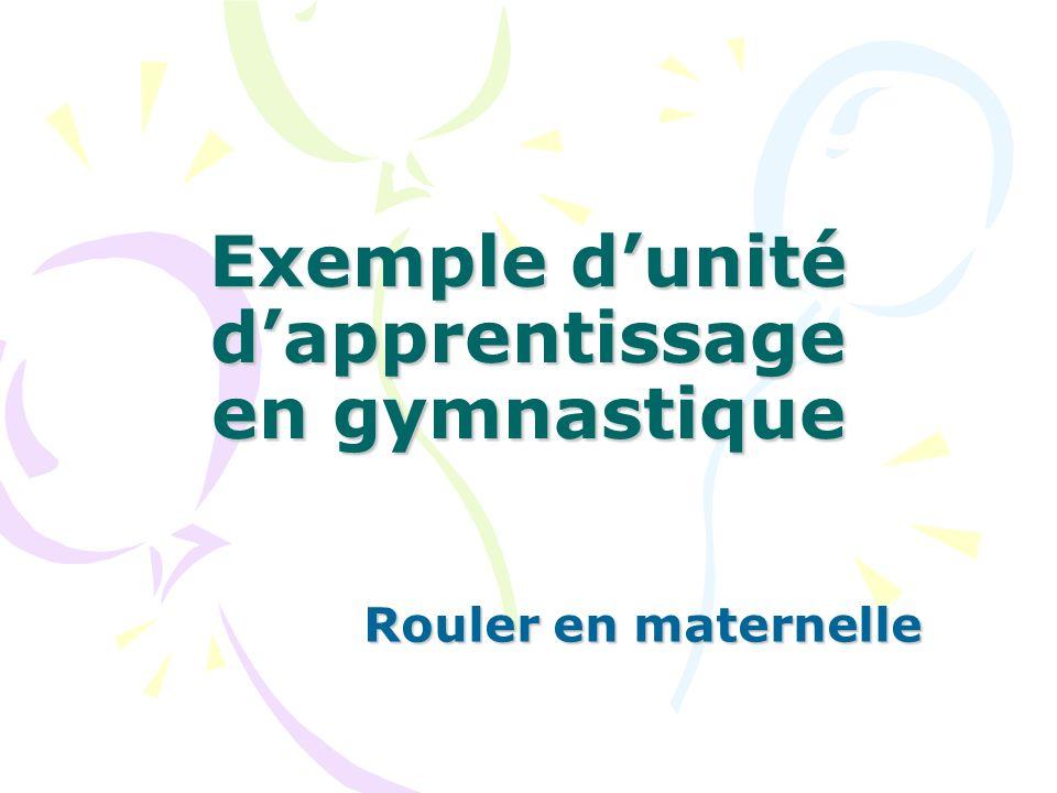 Exemple dunité dapprentissage en gymnastique Rouler en maternelle
