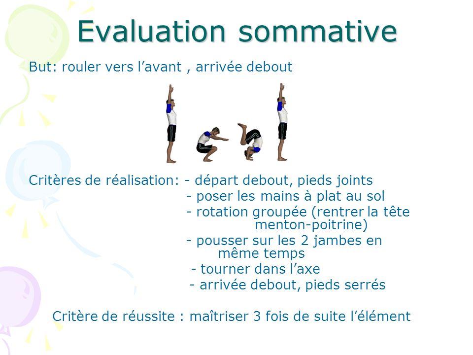 Evaluation sommative But: rouler vers lavant, arrivée debout Critères de réalisation: - départ debout, pieds joints - poser les mains à plat au sol -