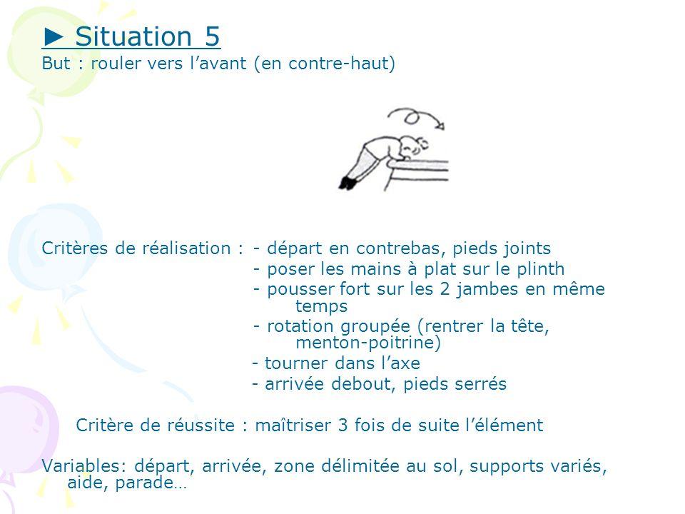 Situation 5 But : rouler vers lavant (en contre-haut) Critères de réalisation : - départ en contrebas, pieds joints - poser les mains à plat sur le pl