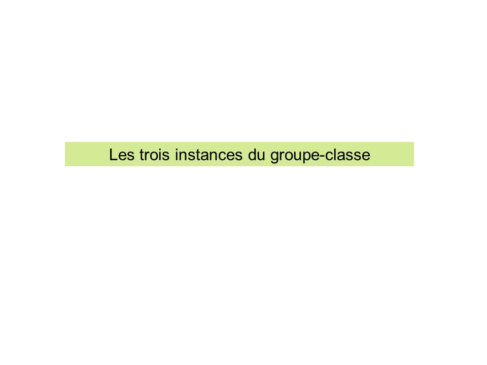 Les trois instances du groupe-classe