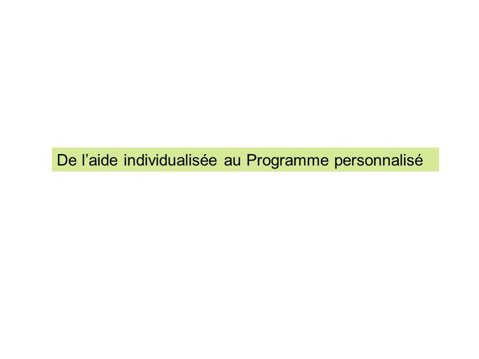 De laide individualisée au Programme personnalisé