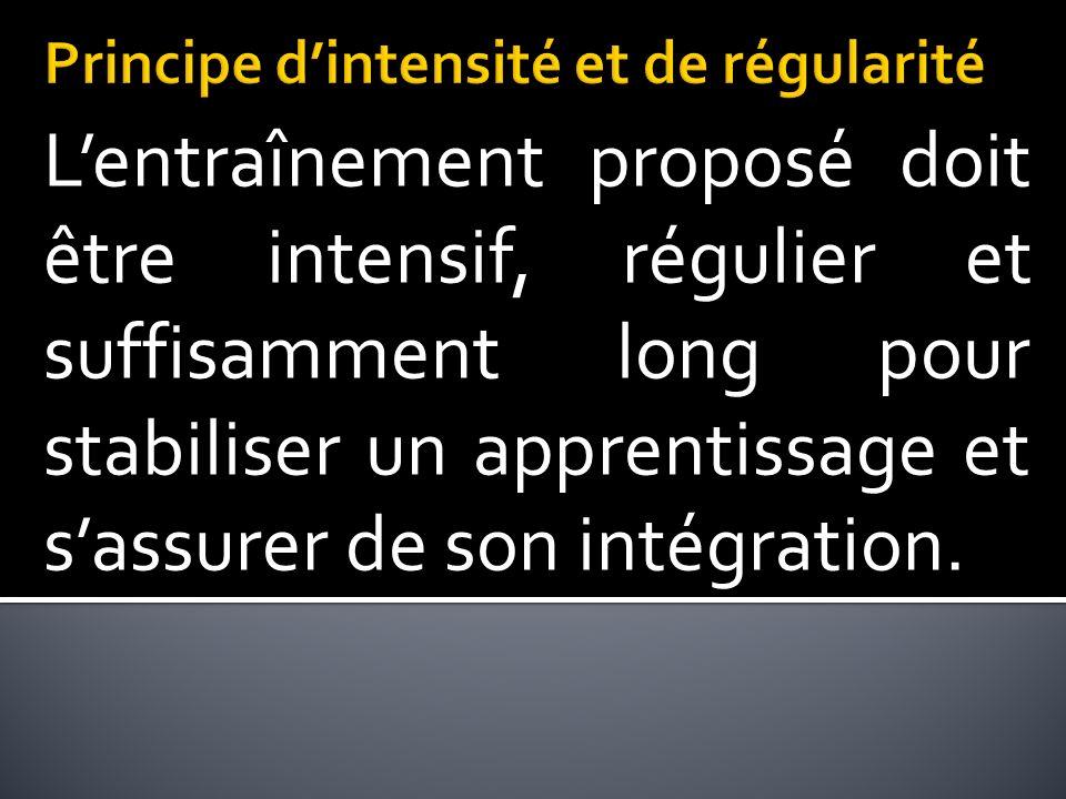 Lentraînement proposé doit être intensif, régulier et suffisamment long pour stabiliser un apprentissage et sassurer de son intégration.