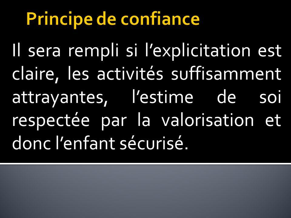 Il sera rempli si lexplicitation est claire, les activités suffisamment attrayantes, lestime de soi respectée par la valorisation et donc lenfant sécurisé.