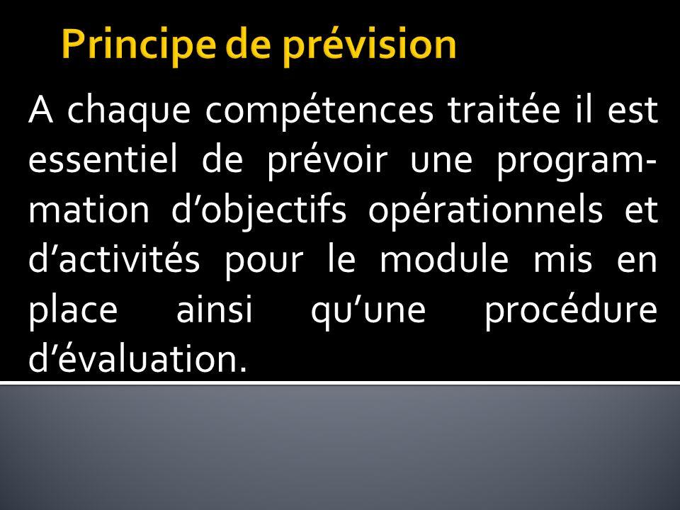 A chaque compétences traitée il est essentiel de prévoir une program- mation dobjectifs opérationnels et dactivités pour le module mis en place ainsi quune procédure dévaluation.