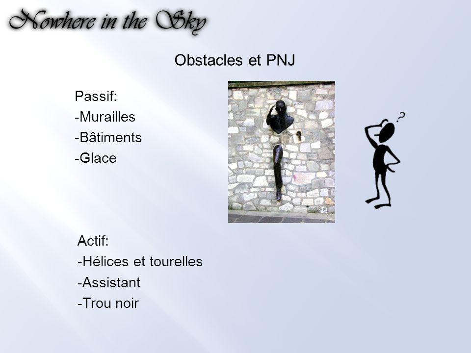 Obstacles et PNJ Passif: -Murailles -Bâtiments -Glace - Actif: - -Hélices et tourelles - -Assistant - -Trou noir