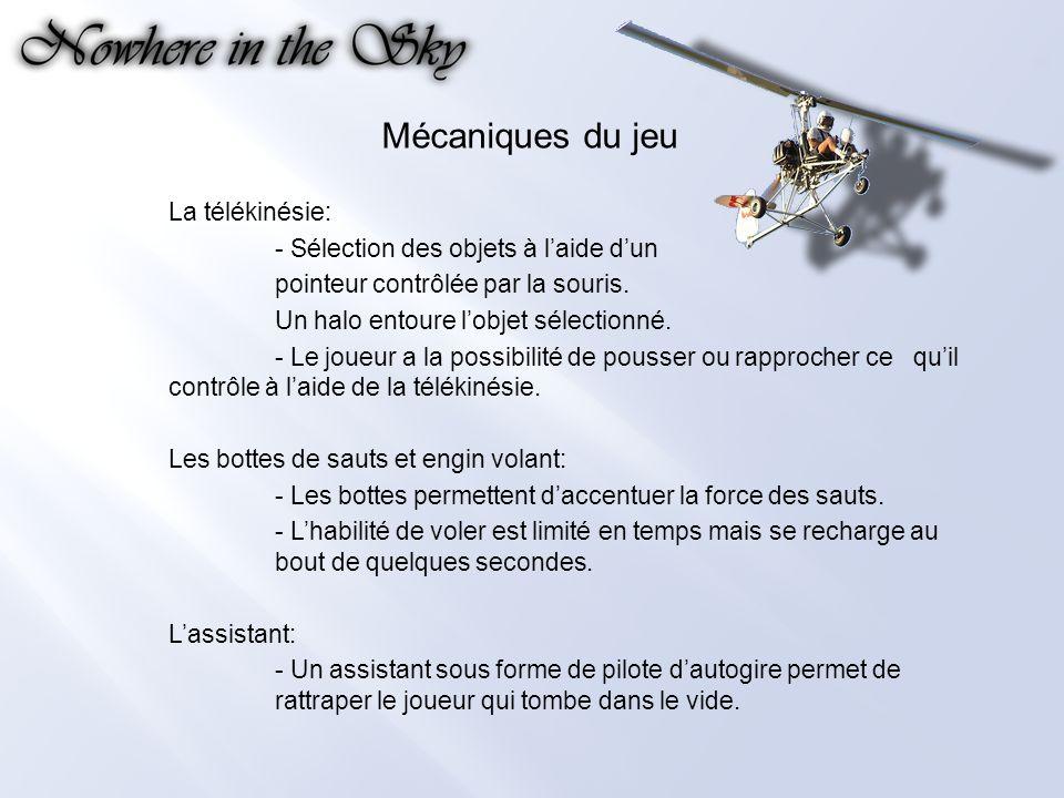 Mécaniques du jeu La télékinésie: - Sélection des objets à laide dun pointeur contrôlée par la souris.