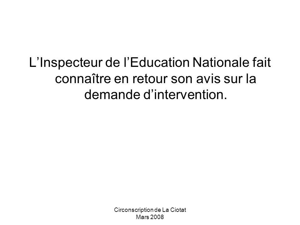 Circonscription de La Ciotat Mars 2008 LInspecteur de lEducation Nationale fait connaître en retour son avis sur la demande dintervention.