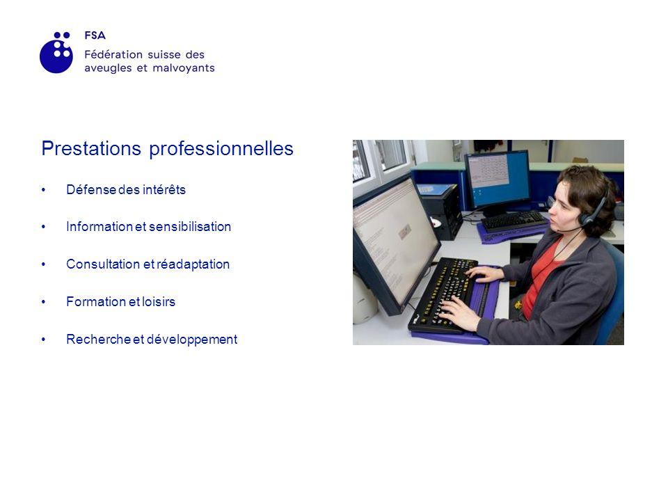 Prestations professionnelles Défense des intérêts Information et sensibilisation Consultation et réadaptation Formation et loisirs Recherche et développement