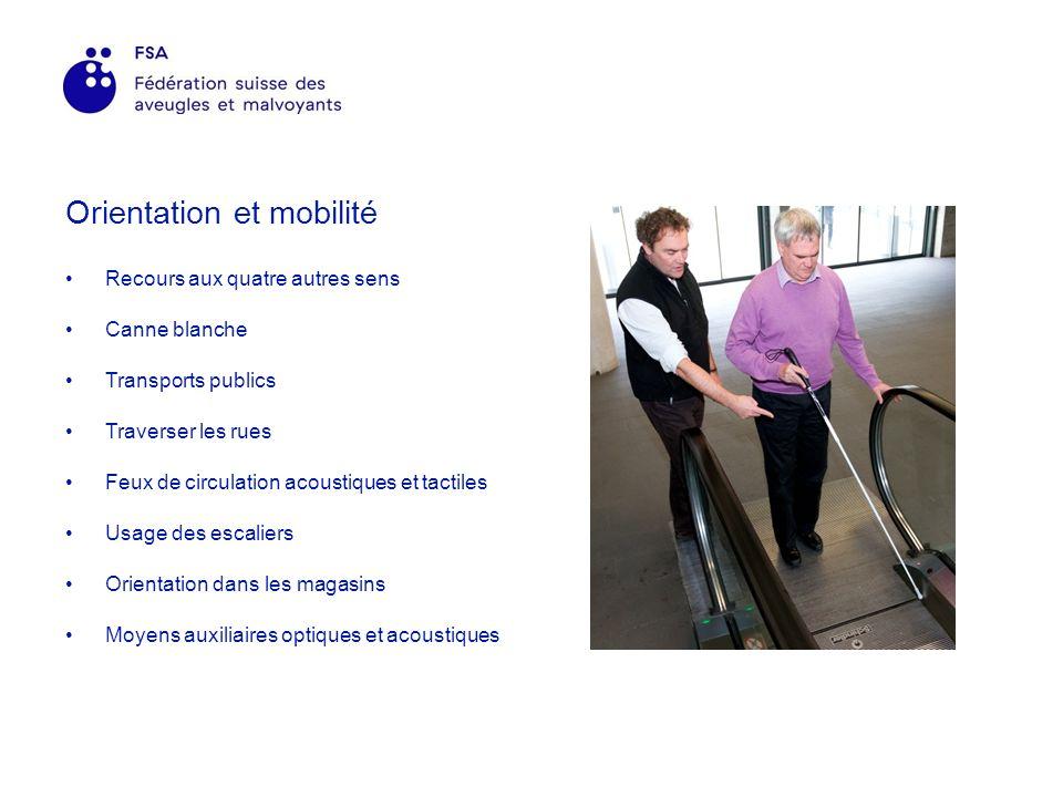 Orientation et mobilité Recours aux quatre autres sens Canne blanche Transports publics Traverser les rues Feux de circulation acoustiques et tactiles Usage des escaliers Orientation dans les magasins Moyens auxiliaires optiques et acoustiques