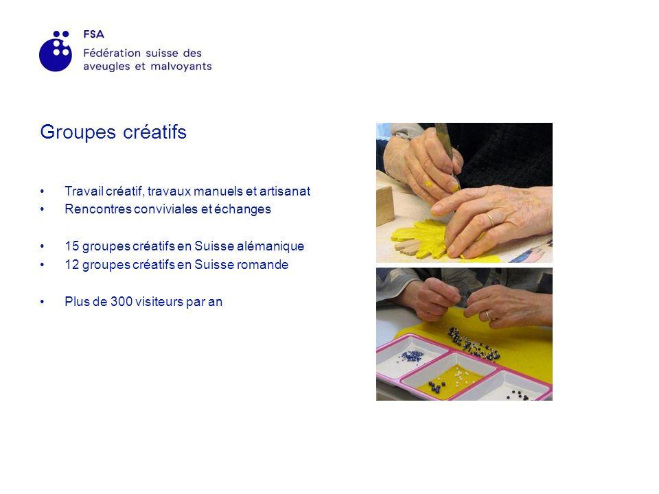 Groupes créatifs Travail créatif, travaux manuels et artisanat Rencontres conviviales et échanges 15 groupes créatifs en Suisse alémanique 12 groupes créatifs en Suisse romande Plus de 300 visiteurs par an