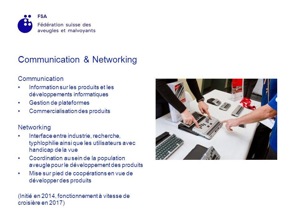 Communication & Networking Communication Information sur les produits et les développements informatiques Gestion de plateformes Commercialisation des produits Networking Interface entre industrie, recherche, typhlophilie ainsi que les utilisateurs avec handicap de la vue Coordination au sein de la population aveugle pour le développement des produits Mise sur pied de coopérations en vue de développer des produits (Initié en 2014, fonctionnement à vitesse de croisière en 2017)