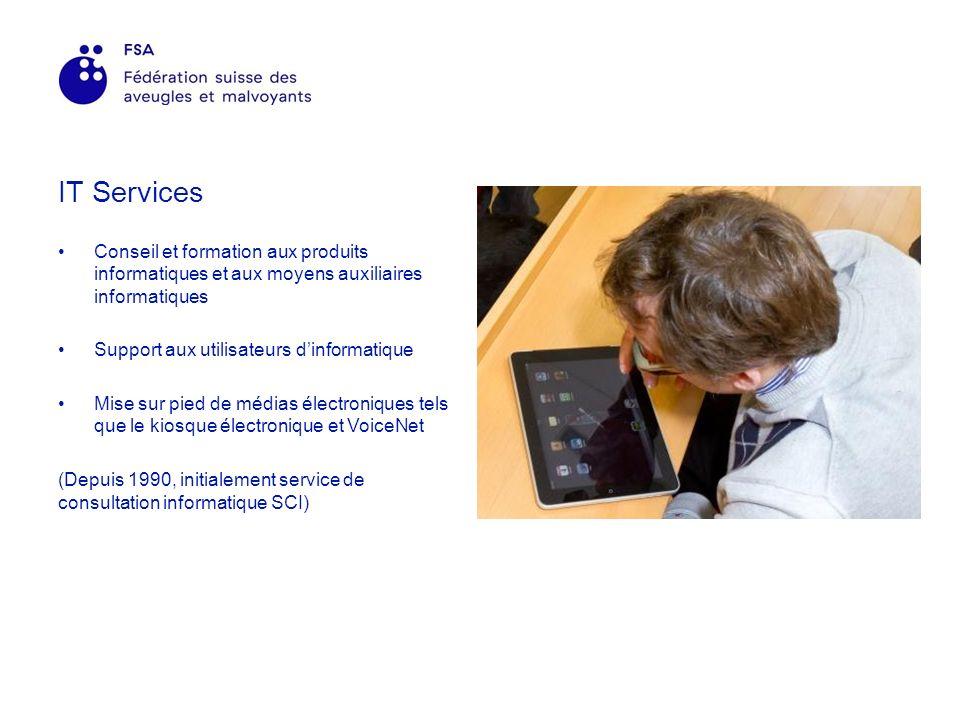 IT Services Conseil et formation aux produits informatiques et aux moyens auxiliaires informatiques Support aux utilisateurs dinformatique Mise sur pied de médias électroniques tels que le kiosque électronique et VoiceNet (Depuis 1990, initialement service de consultation informatique SCI)