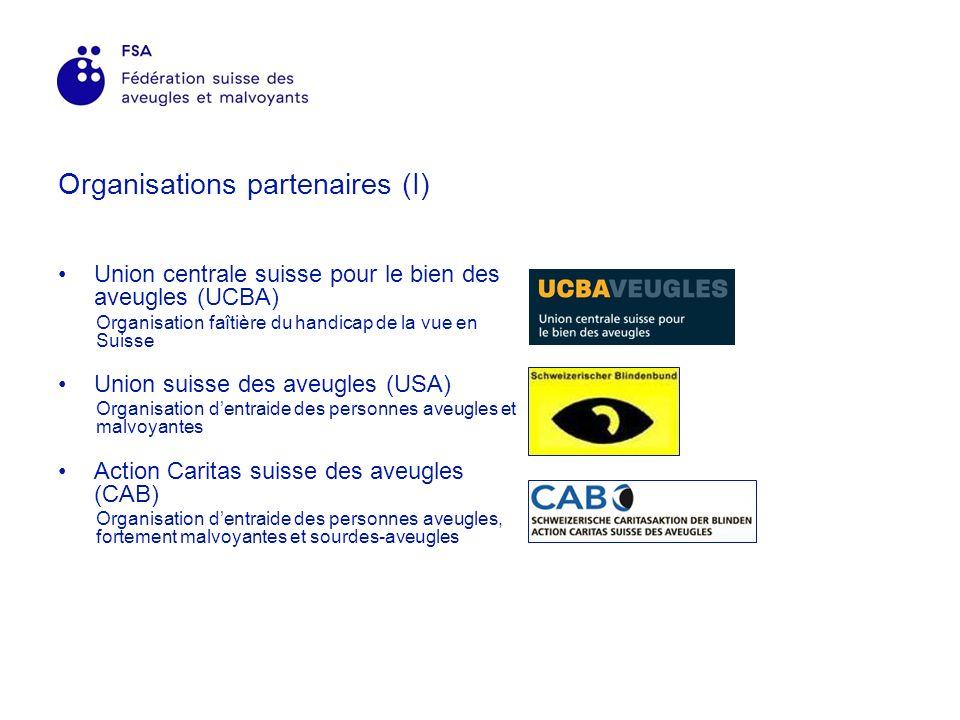 Organisations partenaires (I) Union centrale suisse pour le bien des aveugles (UCBA) Organisation faîtière du handicap de la vue en Suisse Union suisse des aveugles (USA) Organisation dentraide des personnes aveugles et malvoyantes Action Caritas suisse des aveugles (CAB) Organisation dentraide des personnes aveugles, fortement malvoyantes et sourdes-aveugles