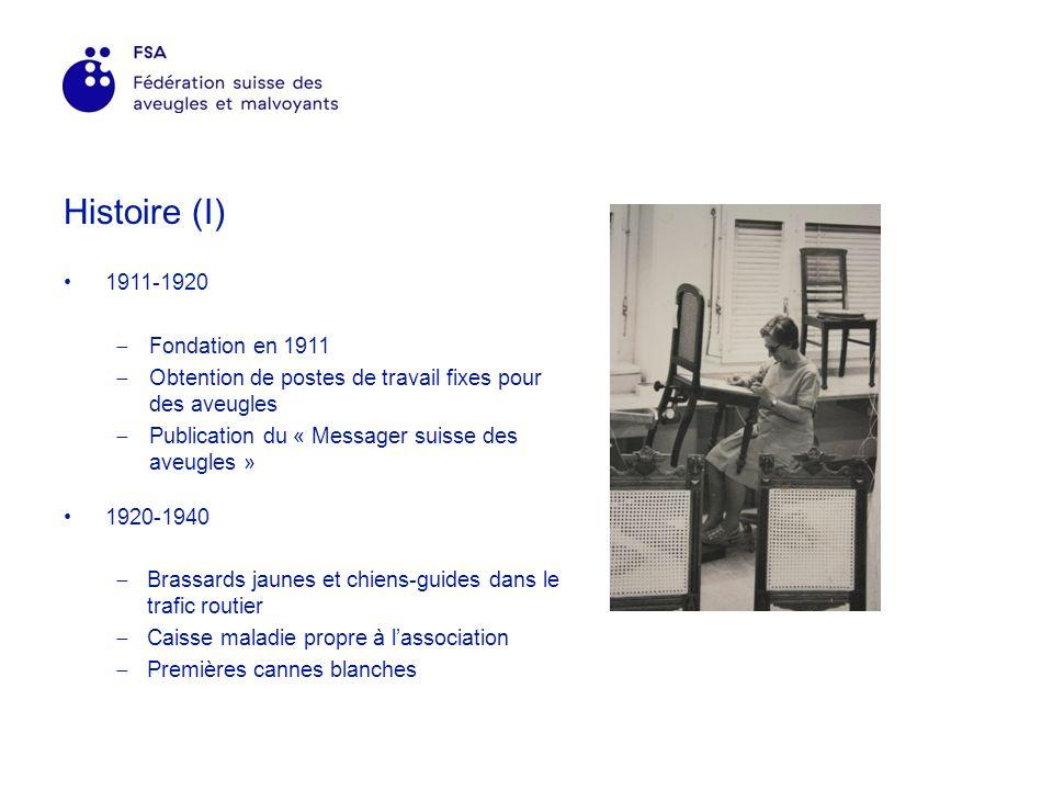 Histoire (I) 1911-1920 Fondation en 1911 Obtention de postes de travail fixes pour des aveugles Publication du « Messager suisse des aveugles » 1920-1940 Brassards jaunes et chiens-guides dans le trafic routier Caisse maladie propre à lassociation Premières cannes blanches