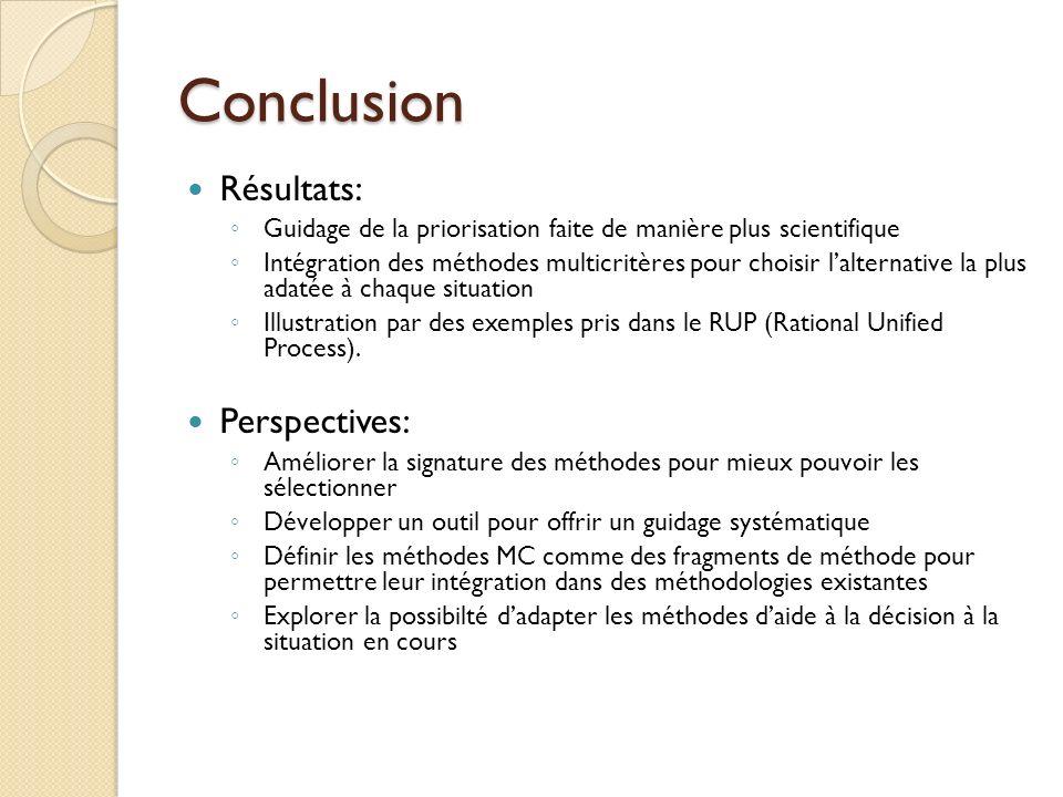 Conclusion Résultats: Guidage de la priorisation faite de manière plus scientifique Intégration des méthodes multicritères pour choisir lalternative la plus adatée à chaque situation Illustration par des exemples pris dans le RUP (Rational Unified Process).