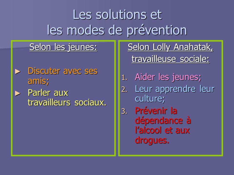 Les solutions et les modes de prévention Selon les jeunes: Discuter avec ses amis; Discuter avec ses amis; Parler aux travailleurs sociaux. Parler aux