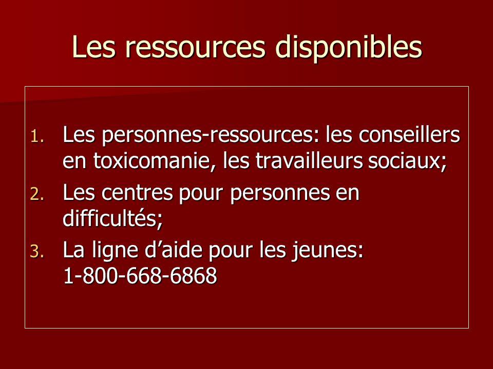Les ressources disponibles 1. Les personnes-ressources: les conseillers en toxicomanie, les travailleurs sociaux; 2. Les centres pour personnes en dif