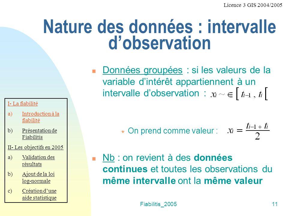 Fiabilitis_200511 Nature des données : intervalle dobservation Données groupées : si les valeurs de la variable dintérêt appartiennent à un intervalle dobservation : On prend comme valeur : Nb : on revient à des données continues et toutes les observations du même intervalle ont la même valeur I- La fiabilité a)Introduction à la fiabilité b)Présentation de Fiabilitis II- Les objectifs en 2005 a)Validation des résultats b)Ajout de la loi log-normale c)Création dune aide statistique Licence 3 GIS 2004/2005