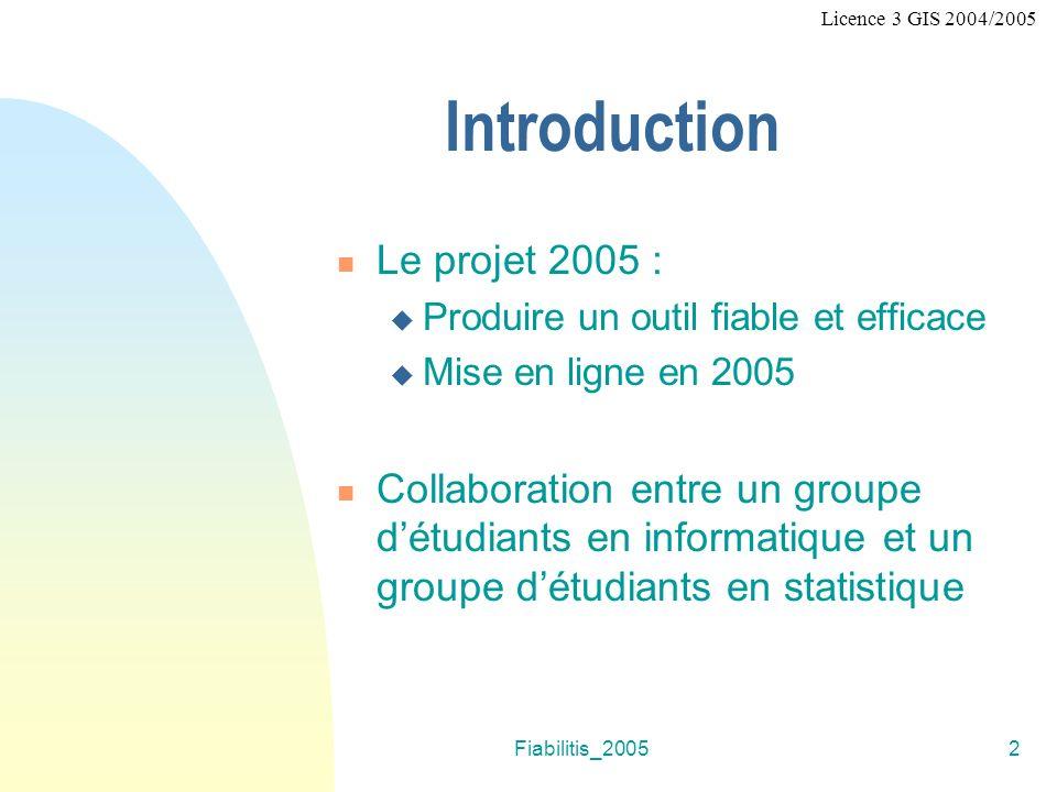 Fiabilitis_20052 Introduction Le projet 2005 : Produire un outil fiable et efficace Mise en ligne en 2005 Collaboration entre un groupe détudiants en