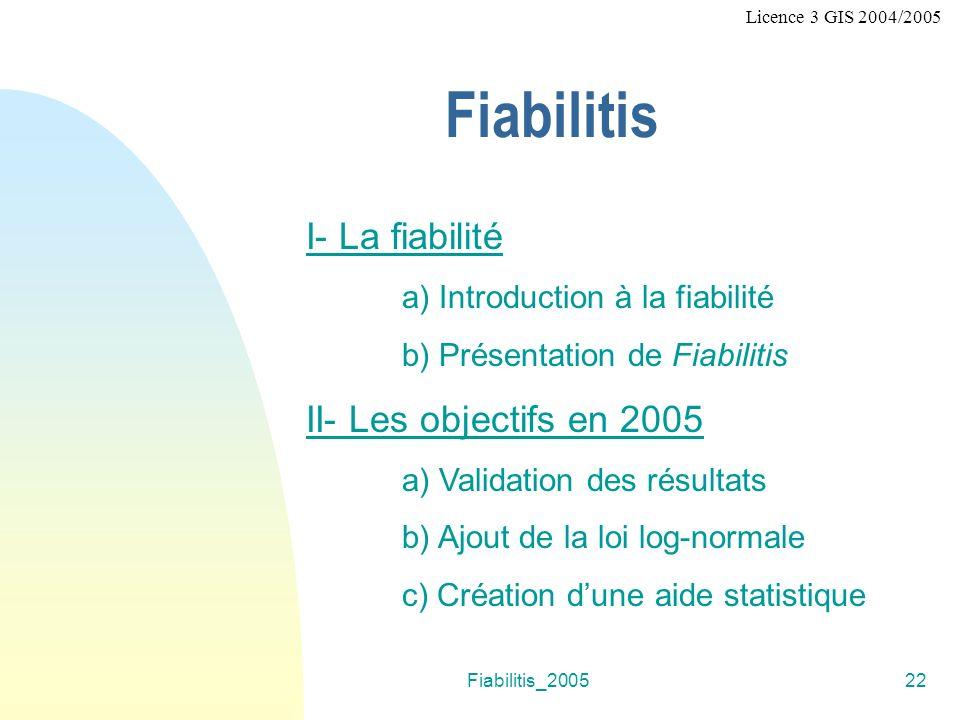 Fiabilitis_200522 Licence 3 GIS 2004/2005 Fiabilitis I- La fiabilité a) Introduction à la fiabilité b) Présentation de Fiabilitis II- Les objectifs en 2005 a) Validation des résultats b) Ajout de la loi log-normale c) Création dune aide statistique