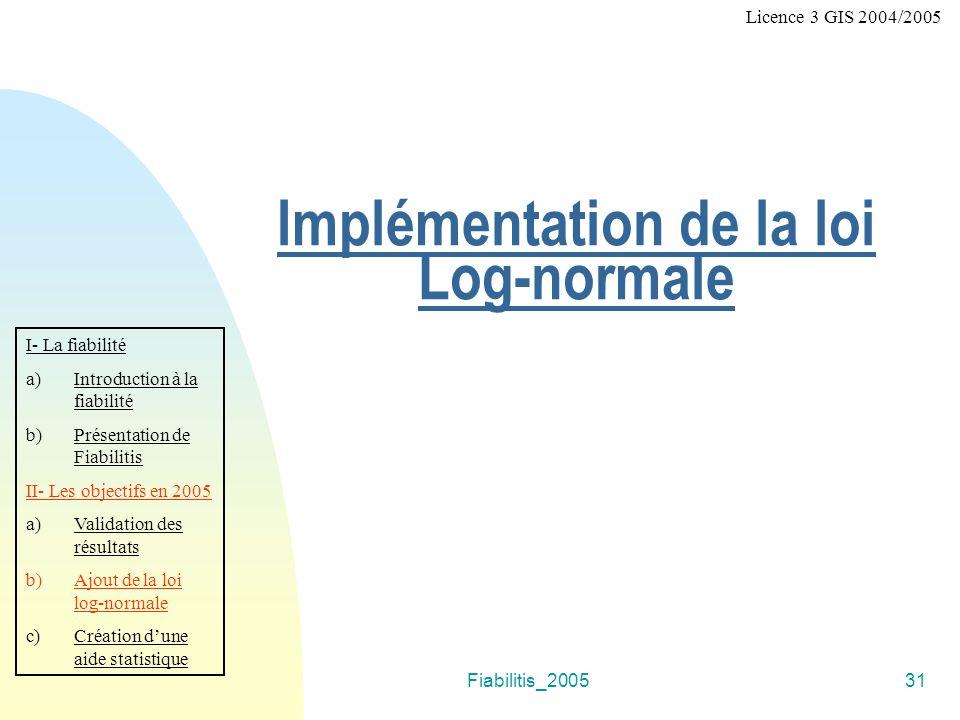 Fiabilitis_200531 Implémentation de la loi Log-normale I- La fiabilité a)Introduction à la fiabilité b)Présentation de Fiabilitis II- Les objectifs en 2005 a)Validation des résultats b)Ajout de la loi log-normale c)Création dune aide statistique Licence 3 GIS 2004/2005