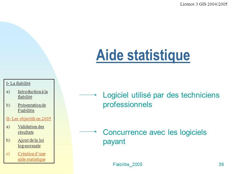 Fiabilitis_200536 Aide statistique Logiciel utilisé par des techniciens professionnels Concurrence avec les logiciels payant I- La fiabilité a)Introdu