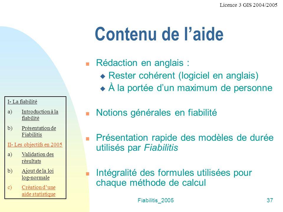 Fiabilitis_200537 Contenu de laide Rédaction en anglais : Rester cohérent (logiciel en anglais) À la portée dun maximum de personne Notions générales