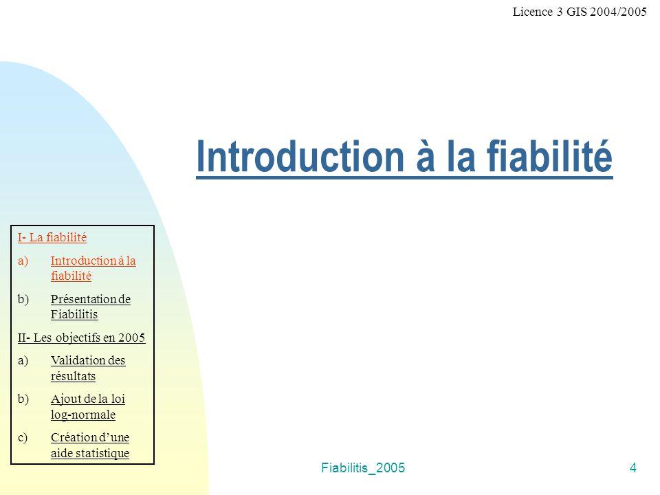 Fiabilitis_20054 Introduction à la fiabilité I- La fiabilité a)Introduction à la fiabilité b)Présentation de Fiabilitis II- Les objectifs en 2005 a)Va