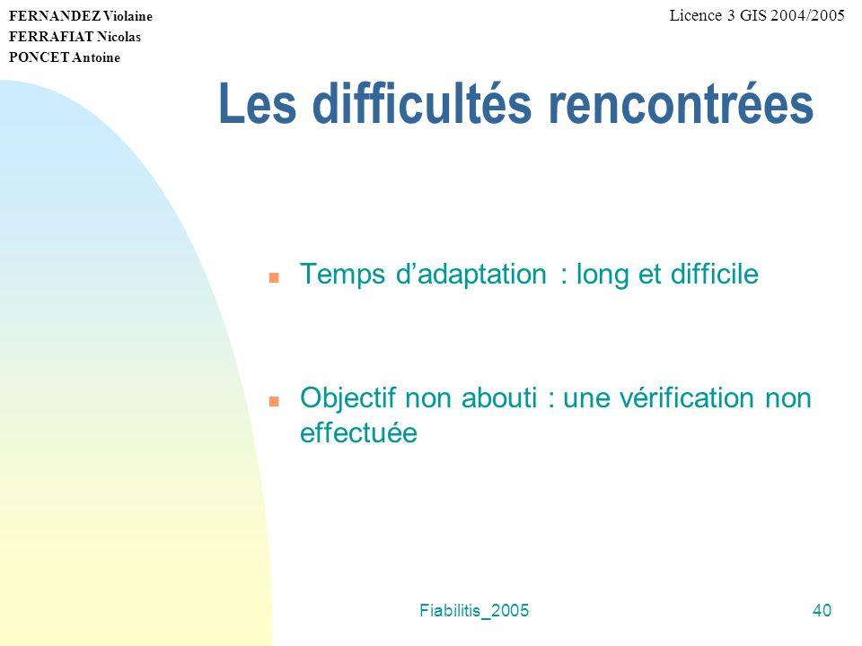 Fiabilitis_200540 FERNANDEZ Violaine FERRAFIAT Nicolas PONCET Antoine Licence 3 GIS 2004/2005 Les difficultés rencontrées Temps dadaptation : long et