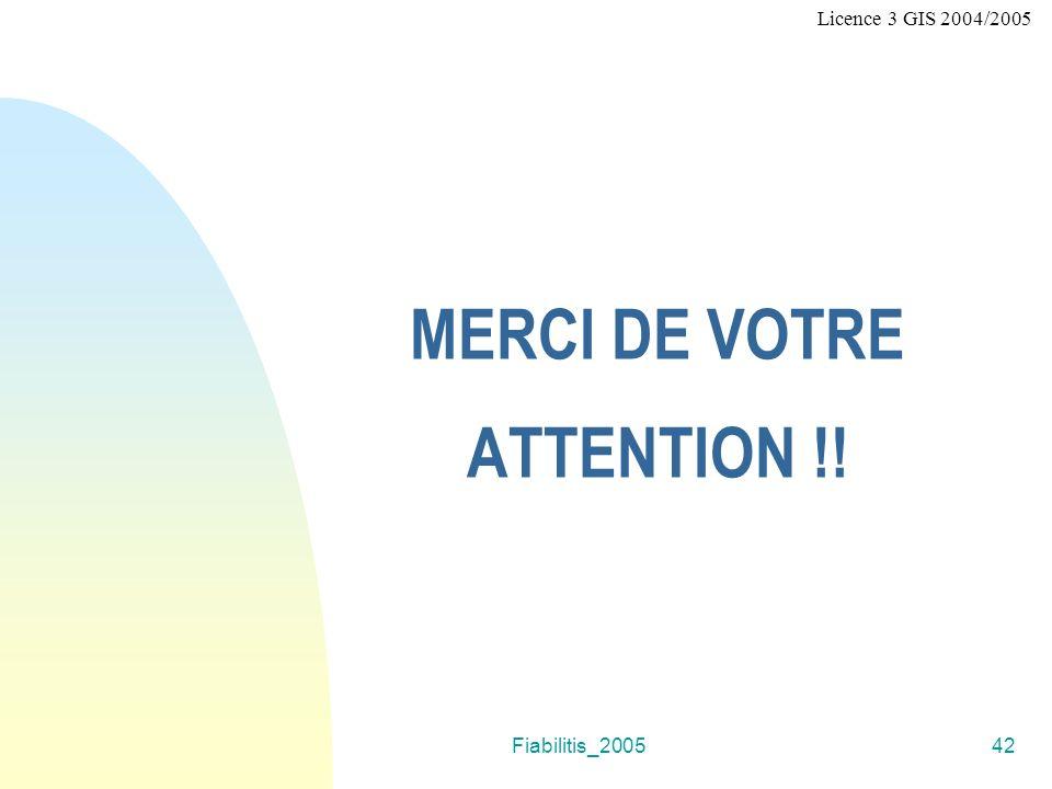 Fiabilitis_200542 MERCI DE VOTRE ATTENTION !! Licence 3 GIS 2004/2005