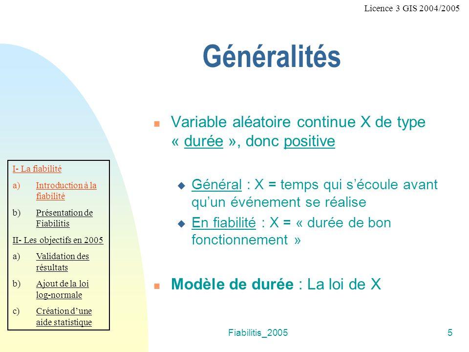 Fiabilitis_20055 Généralités Variable aléatoire continue X de type « durée », donc positive Général : X = temps qui sécoule avant quun événement se réalise En fiabilité : X = « durée de bon fonctionnement » Modèle de durée : La loi de X I- La fiabilité a)Introduction à la fiabilité b)Présentation de Fiabilitis II- Les objectifs en 2005 a)Validation des résultats b)Ajout de la loi log-normale c)Création dune aide statistique Licence 3 GIS 2004/2005