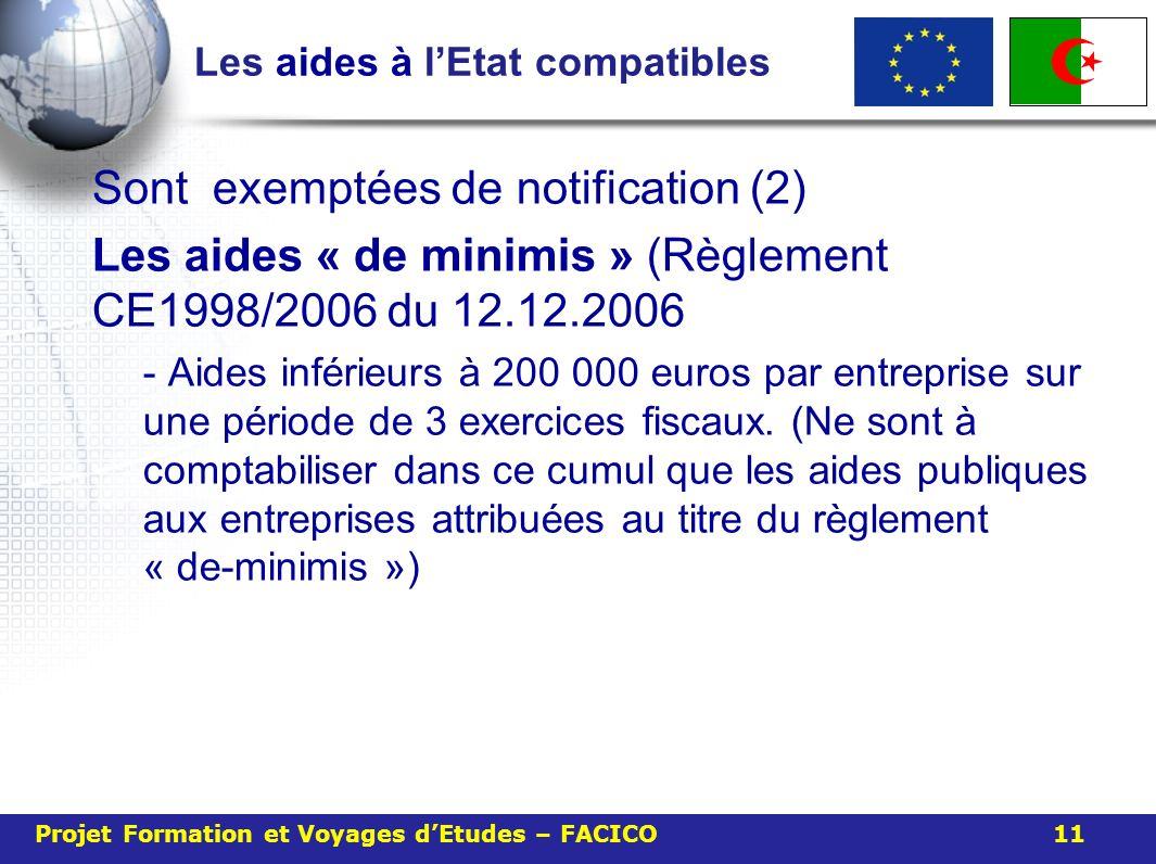Les aides à lEtat compatibles Sont exemptées de notification (2) Les aides « de minimis » (Règlement CE1998/2006 du 12.12.2006 - Aides inférieurs à 200 000 euros par entreprise sur une période de 3 exercices fiscaux.