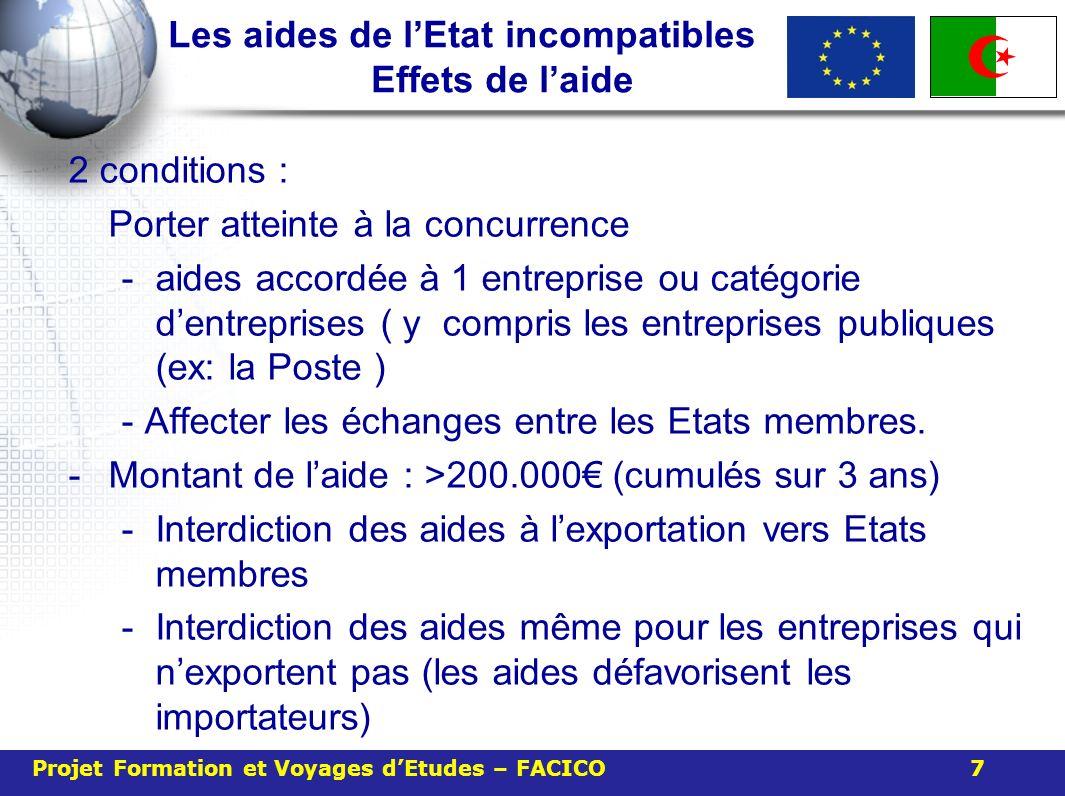Les aides de lEtat incompatibles Effets de laide 2 conditions : Porter atteinte à la concurrence -aides accordée à 1 entreprise ou catégorie dentreprises ( y compris les entreprises publiques (ex: la Poste ) - Affecter les échanges entre les Etats membres.