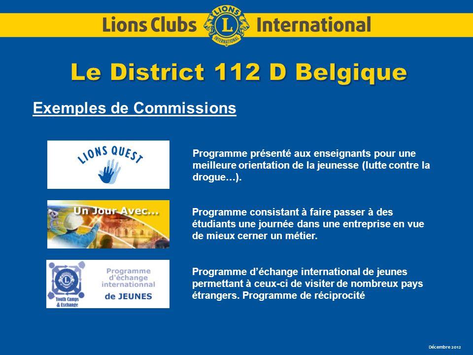 Décembre 2012 Exemples de Commissions Programme présenté aux enseignants pour une meilleure orientation de la jeunesse (lutte contre la drogue…). Prog