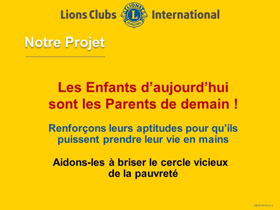 Décembre 2012 Les Enfants daujourdhui sont les Parents de demain ! Renforçons leurs aptitudes pour quils puissent prendre leur vie en mains Aidons-les