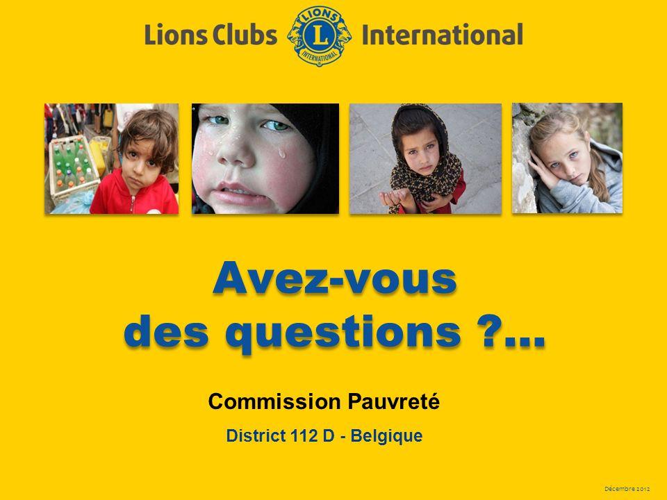 Décembre 2012 Avez-vous des questions ?... Commission Pauvreté District 112 D - Belgique
