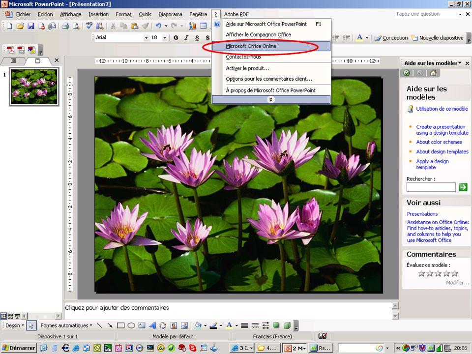 Contenu uniquement disponible en ligne Lorsque vous recherchez de l aide dans le programme Office, le contenu suivant sur Microsoft Office Online n est disponible que si vous travaillez en ligne : Assistance Modèles Formation Images clipart et éléments multimédias Office Marketplace