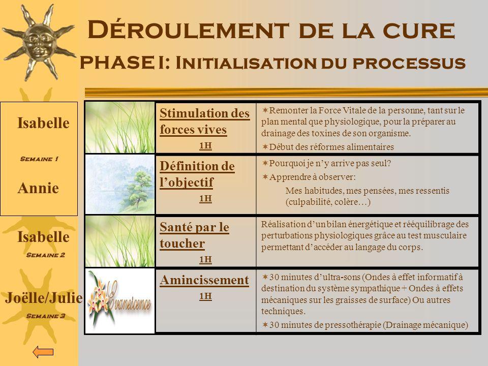 Déroulement de la cure PHASE I: Initialisation du processus Stimulation des forces vives 1H Remonter la Force Vitale de la personne, tant sur le plan