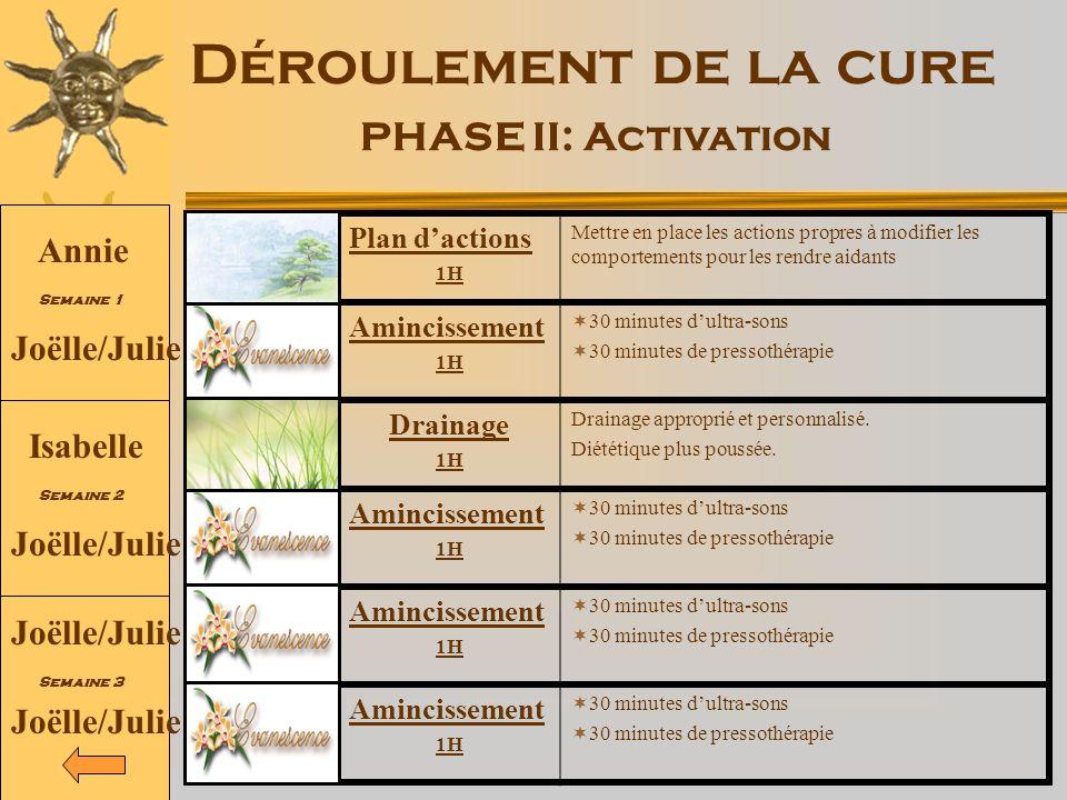 Déroulement de la cure PHASE II: Activation Plan dactions 1H Mettre en place les actions propres à modifier les comportements pour les rendre aidants