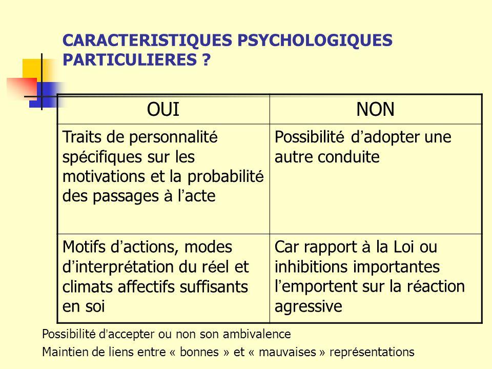 CARACTERISTIQUES PSYCHOLOGIQUES PARTICULIERES ? OUINON Traits de personnalit é sp é cifiques sur les motivations et la probabilit é des passages à l a