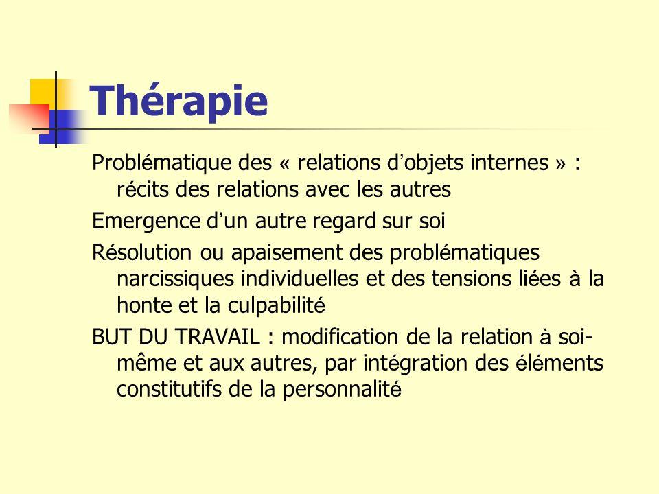 Thérapie Probl é matique des « relations d objets internes » : r é cits des relations avec les autres Emergence d un autre regard sur soi R é solution