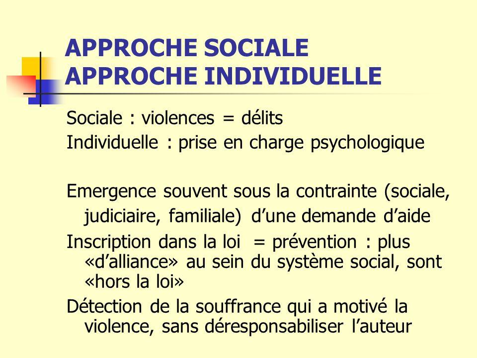 APPROCHE SOCIALE APPROCHE INDIVIDUELLE Sociale : violences = délits Individuelle : prise en charge psychologique Emergence souvent sous la contrainte